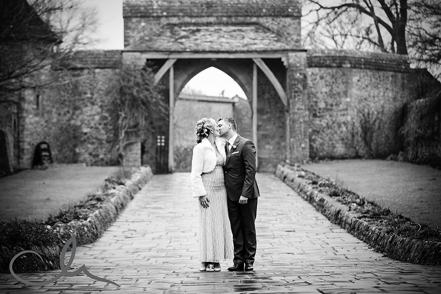 Newlyweds at Lympne Castle Kent Wedding Venue