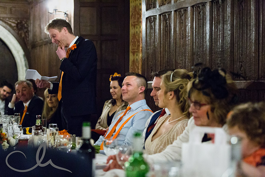 Lympne Castle Wedding Photos - best man delivers his speech