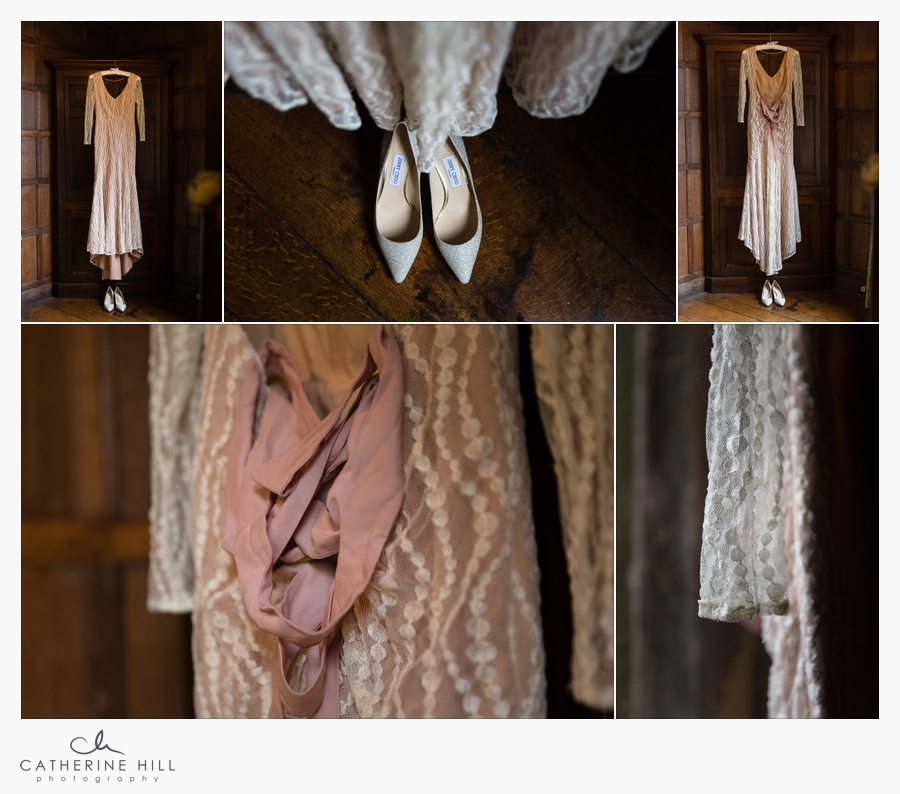 The brides dress hanging in Lympne Castle