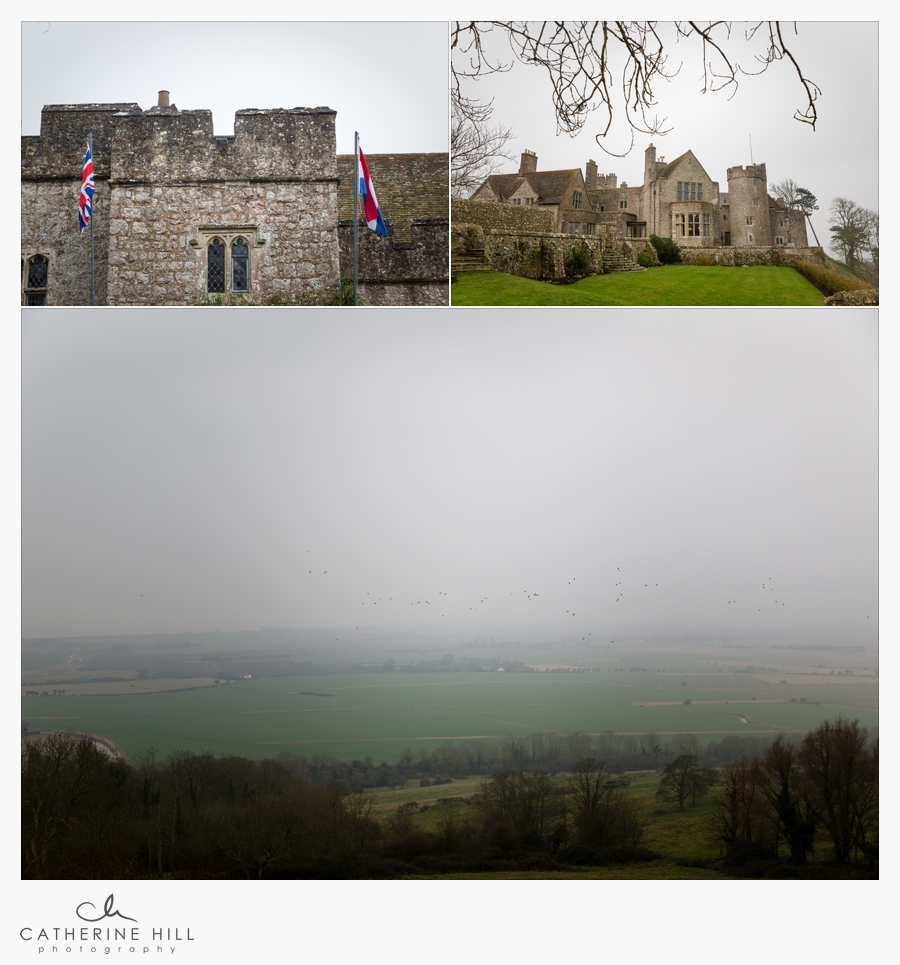 Images of Lympne Castle and the view to Dymchurch in February