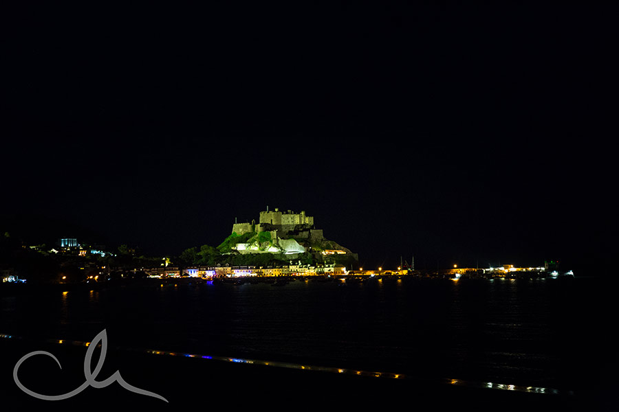 night time shot of Mont Orgueil Castle