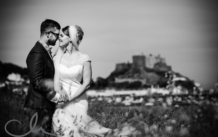 newlyweds have their portait shoot at Gorey Castle