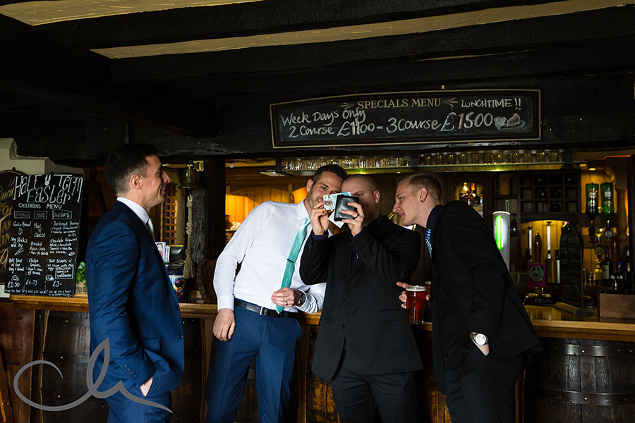 Groom and Best Man have check out the new £5 note at The Ferry House Inn Sheppey