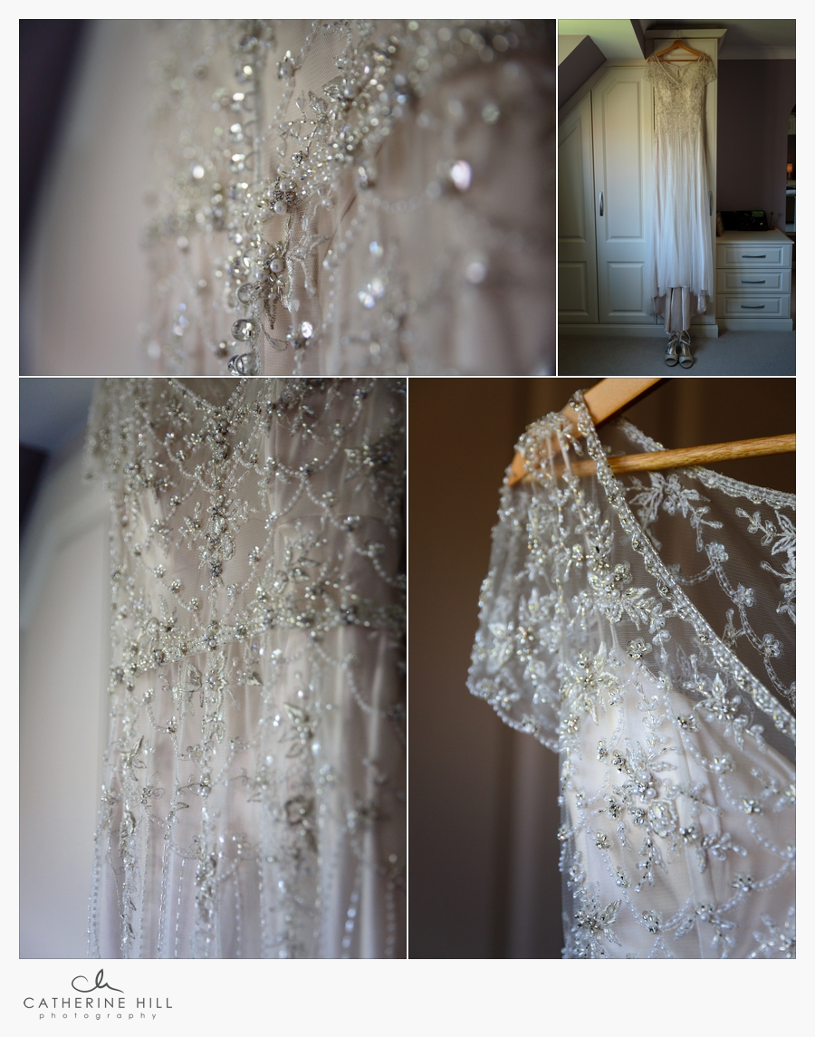 Brides dress for her Bradbourne House Wedding