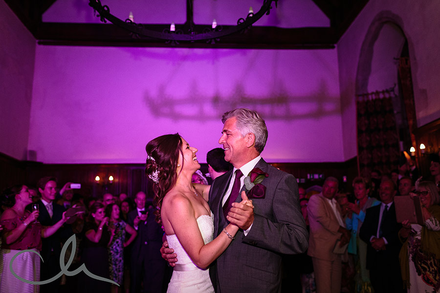 Bride dances with her father at Lympne Castle