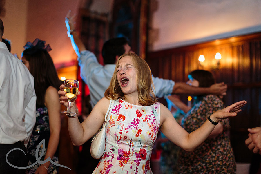 Guests dance at Lympne Castle Wedding