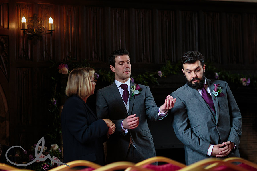 Groom to be and his brother speak to the registrar at The Hythe Imperial Hotel Kent