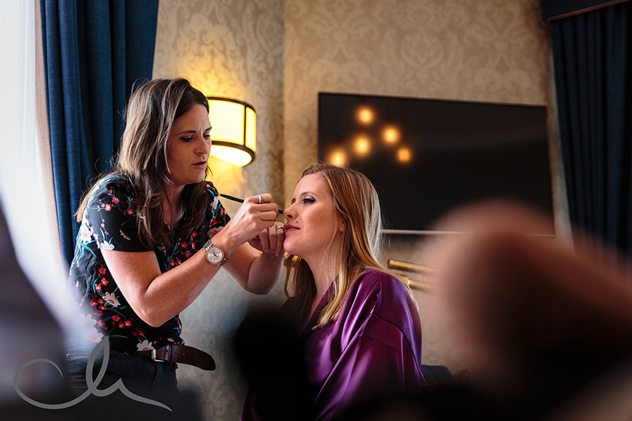 Bridesmaid has her makeup applied at The Hythe Imperial Kent