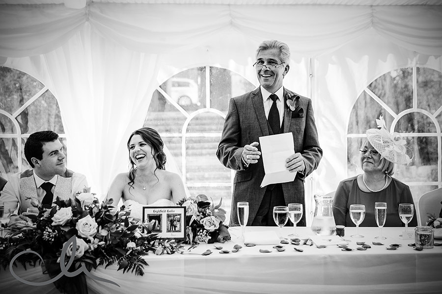 Father of the bride gives his speech at Lympne Castle Wedding