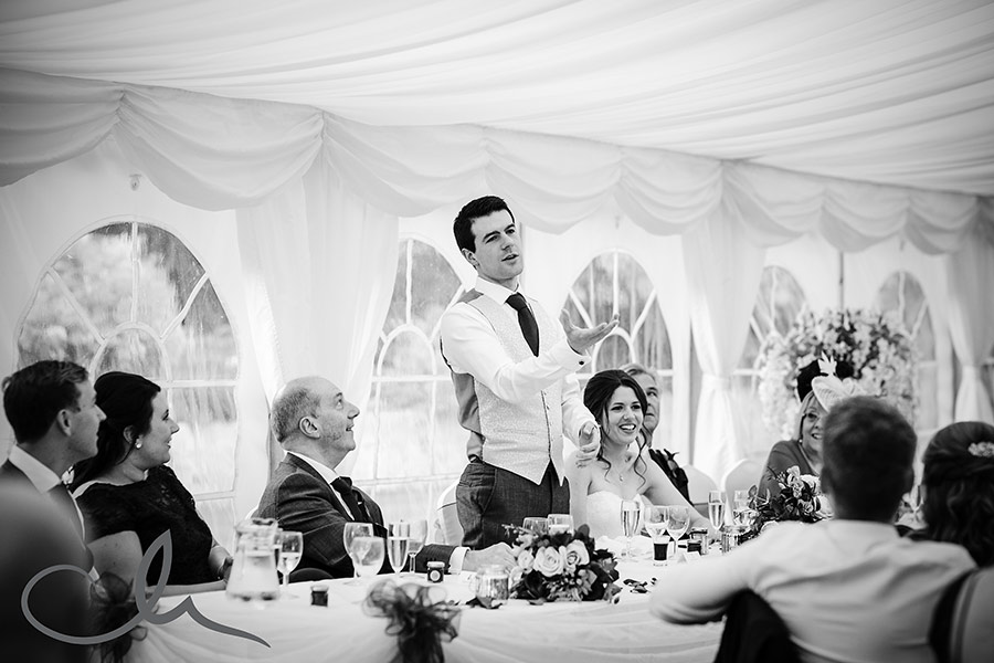 Groom gives his speech at Lympne Castle Wedding