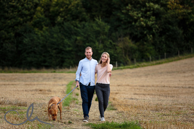 couple have a romantic stroll in Patrixbourne Kent