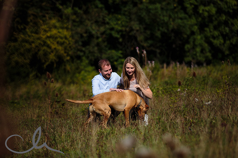 couple have an engagement shoot with their dog in Patrixbourne