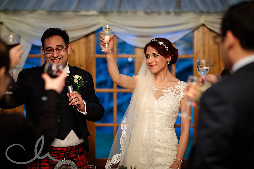 Newlyweds and their wedding party raise their glasses to toast their Lypmne Castle Wedding