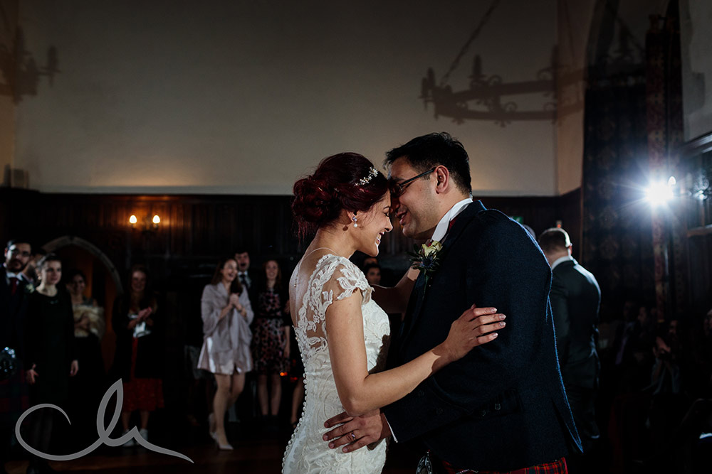 Bridea and Groom have their first dance at Lympne Castle