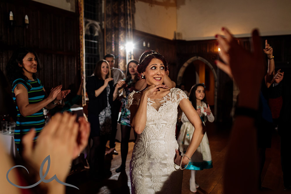 Bride dances to Iranian music at her Lympne Castle Wedding