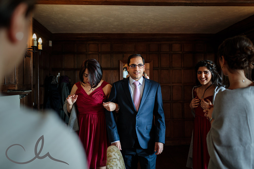 brides brother practices his walk down the isle for his sisters wedding