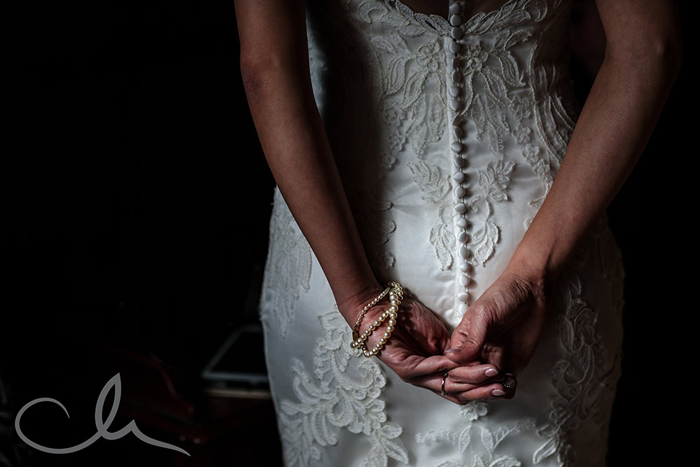 details of the brides dress at Lympne Castle