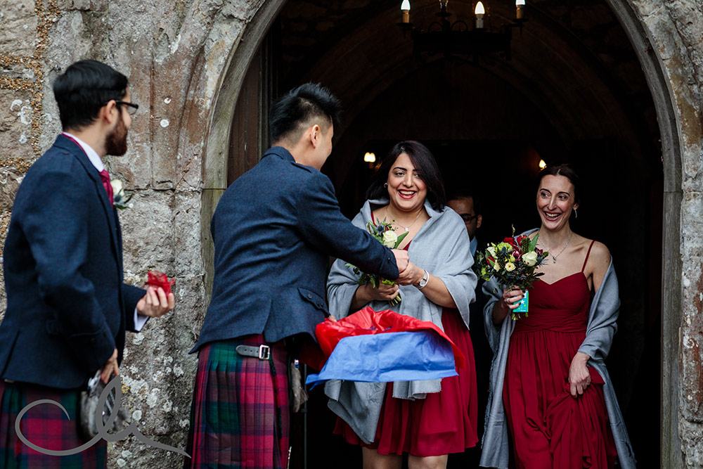 guests are given confetti at Lympne Castle